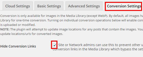 EWWW Image Optimizerの画像変換設定