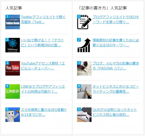 WordPress Popular Posts人気記事例